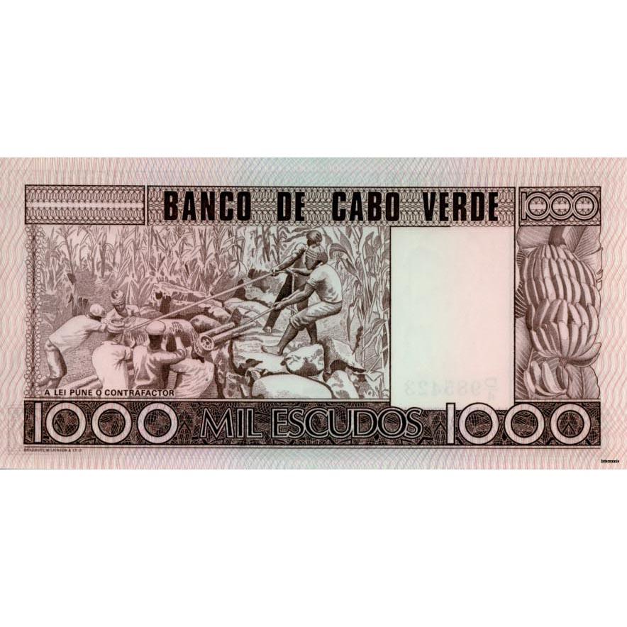 CAPE VERDE 1000 ESCUDOS 1977 P 56 UNC