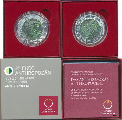 25 Euro Silber Niob Münze Anthropozän Ausreise Info