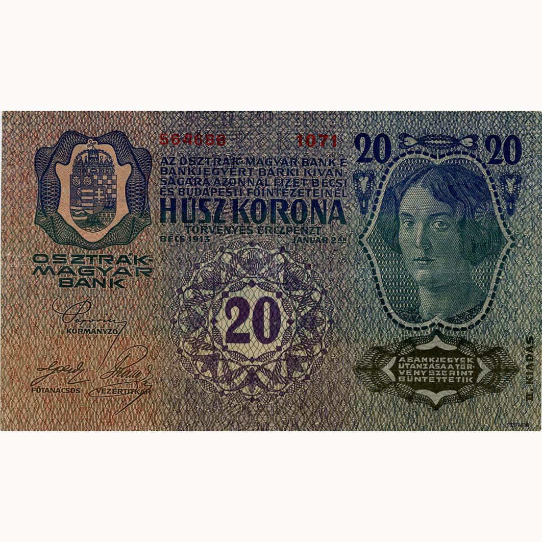 sterreichisch ungarische bank 20 kronen ii auflage erh. Black Bedroom Furniture Sets. Home Design Ideas